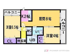 厚別2LDKマンション図面