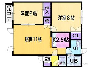 森林公園2LDKアパート図面