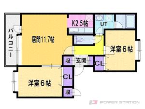 札幌市厚別区厚別東4条7丁目0賃貸マンション間取図面