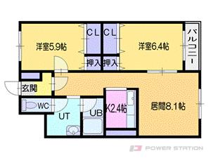 札幌市厚別区厚別西2条1丁目0賃貸マンション間取図面