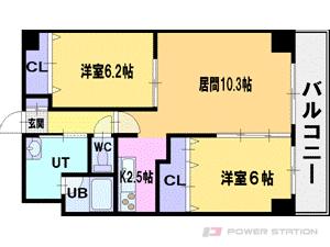 札幌市厚別区厚別西2条2丁目0賃貸マンション間取図面