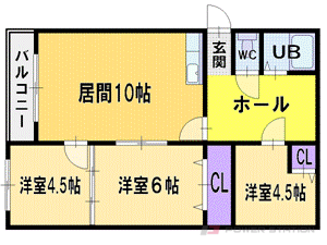 札幌市厚別区厚別中央5条6丁目1賃貸マンション間取図面