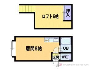 厚別1DKアパート図面