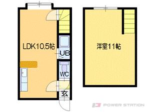 札幌市厚別区厚別中央3条4丁目0賃貸アパート間取図面