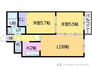 札幌市厚別区厚別中央5条5丁目0賃貸マンション間取図面