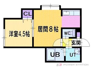 エクセル新札幌:1号室タイプ(1DK)