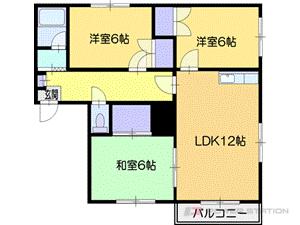 札幌市厚別区厚別中央3条3丁目0賃貸マンション間取図面
