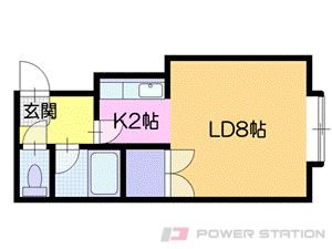 新さっぽろ1Kアパート図面