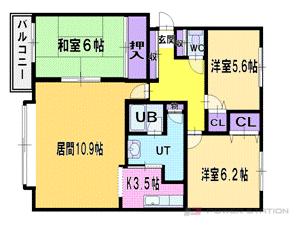 札幌市厚別区厚別東1条3丁目0賃貸マンション間取図面