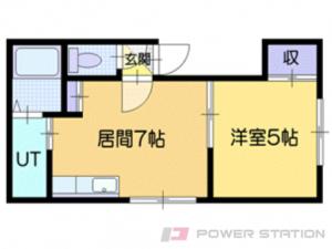 新さっぽろ1DKアパート図面