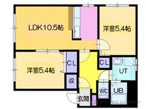 札幌市厚別区青葉町13丁目0賃貸アパート間取図面