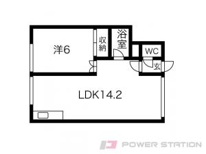 新さっぽろ1LDKアパート図面