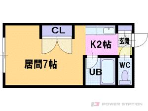 大谷地1Kマンション図面