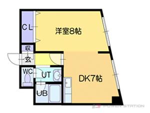 大谷地1DK分譲リースマンション図面