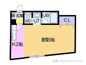 大谷地1K分譲リースマンション図面