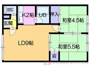 ひばりが丘2LDKアパート図面