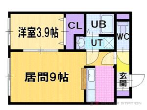 厚別1LDKマンション図面