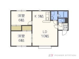 新さっぽろ2LDKアパート図面
