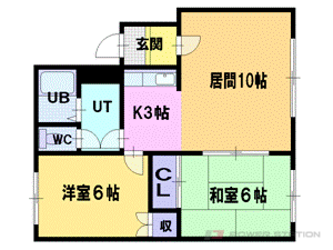 上野幌2LDKアパート図面