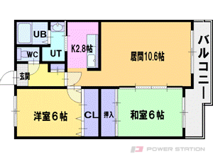 札幌市厚別区厚別南7丁目0賃貸マンション間取図面