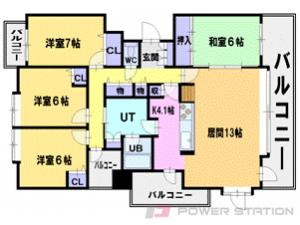 札幌市厚別区大谷地東5丁目0分譲リースマンション間取図面