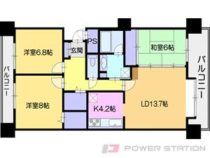 札幌市厚別区大谷地東5丁目1分譲リースマンション間取図面