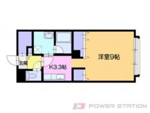 大谷地1Kアパート図面