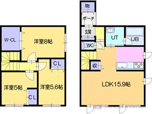札幌市厚別区大谷地東5丁目0テラスハウス間取図面