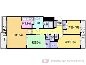 札幌市厚別区大谷地東3丁目0分譲リースマンション間取図面