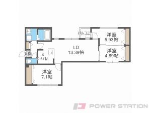 桑園3LDKマンション図面
