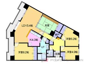札幌市厚別区大谷地西5丁目1分譲リースマンション間取図面