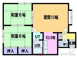 札幌市厚別区大谷地西5丁目0賃貸アパート間取図面