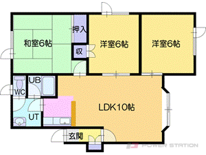 札幌市厚別区上野幌1条4丁目0賃貸アパート間取図面