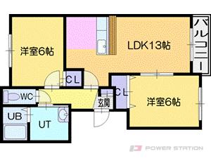 札幌市厚別区上野幌1条3丁目0賃貸マンション間取図面