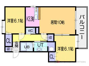 札幌市厚別区厚別中央4条2丁目1賃貸マンション間取図面