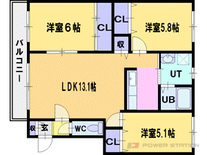 札幌市厚別区上野幌1条3丁目0賃貸アパート間取図面