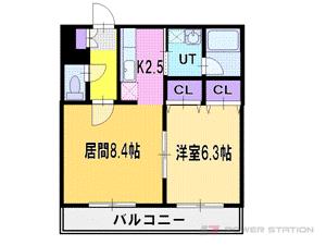 上野幌1LDKマンション図面