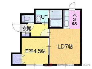 札幌市厚別区厚別中央5条1丁目1賃貸アパート間取図面