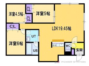 札幌市厚別区厚別東5条3丁目0賃貸アパート間取図面