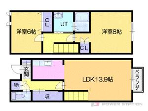 札幌市厚別区厚別中央5条2丁目0テラスハウス間取図面