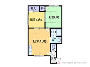 札幌市厚別区大谷地西5丁目1賃貸アパート間取図面