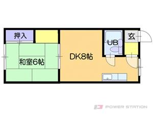 大谷地1DKアパート図面