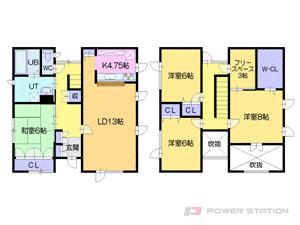 上野幌4SLDK一戸建貸家図面