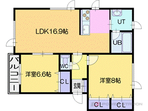札幌市厚別区上野幌3条6丁目0賃貸アパート間取図面