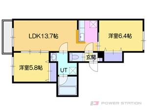 オルセー厚別中央IV:103号室タイプ