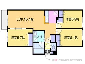オルセー厚別中央IV:2階以上の3号室タイプ