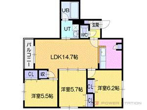 オルセー厚別中央V:2号室タイプ