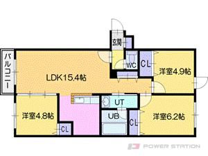 オルセー厚別中央V:3号室タイプ