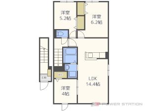 札幌市厚別区上野幌1条4丁目1賃貸アパート間取図面