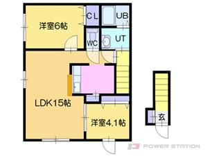 札幌市厚別区厚別西4条3丁目0賃貸アパート間取図面
